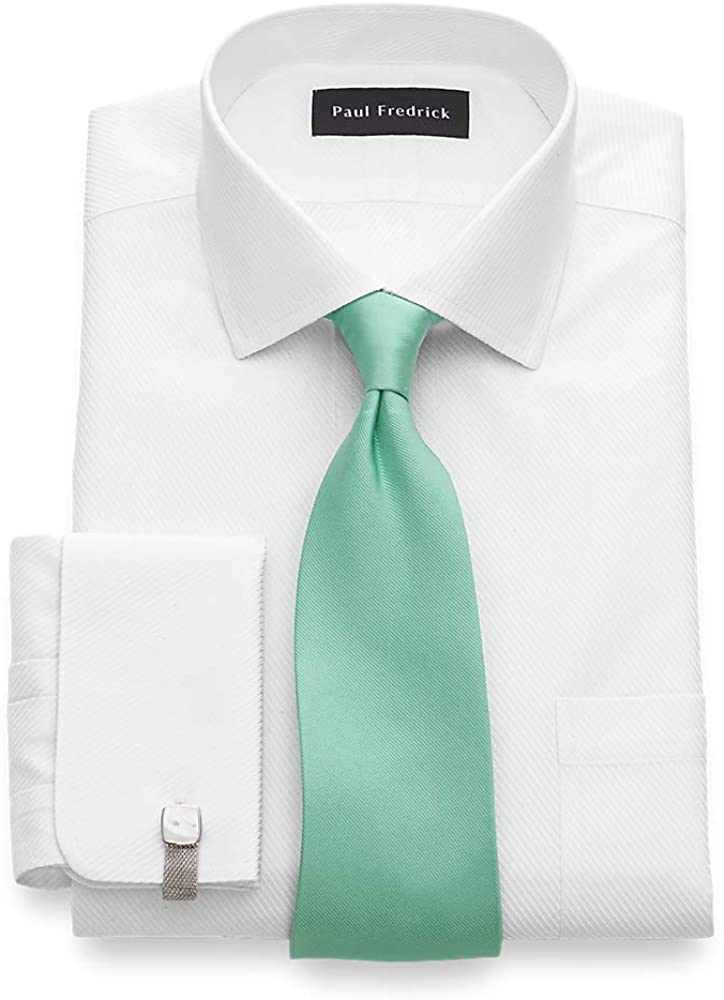 Paul Fredrick Men's Tailored Fit Non-Iron Solid Color Twill Dress Shirt