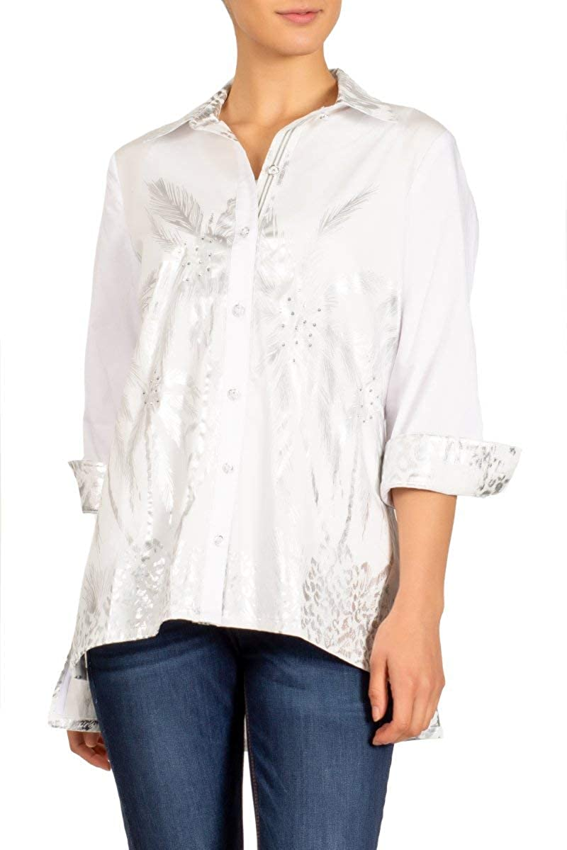 Berek Women's Big Shirt Button Down Elegant Top | Silvery Palm Tree Big Shirt (White, Silver)
