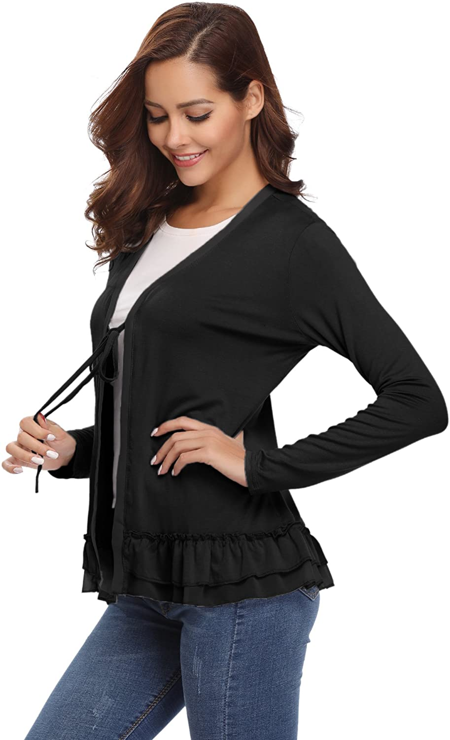 Abollria Women's Loose Casual Long Sleeved Open Front Breathable Cardigans