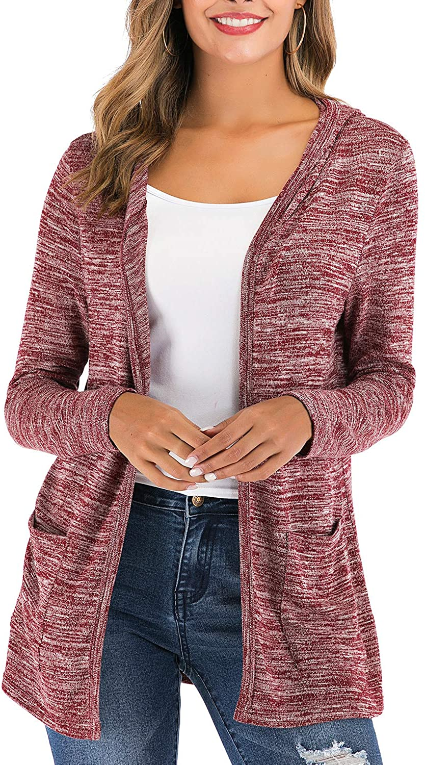 VZULY Women's Long Sleeve Tops Knit Open Front Casual Hooded Cardigans with 2 Pockets