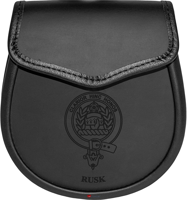 Rusk Leather Day Sporran Scottish Clan Crest