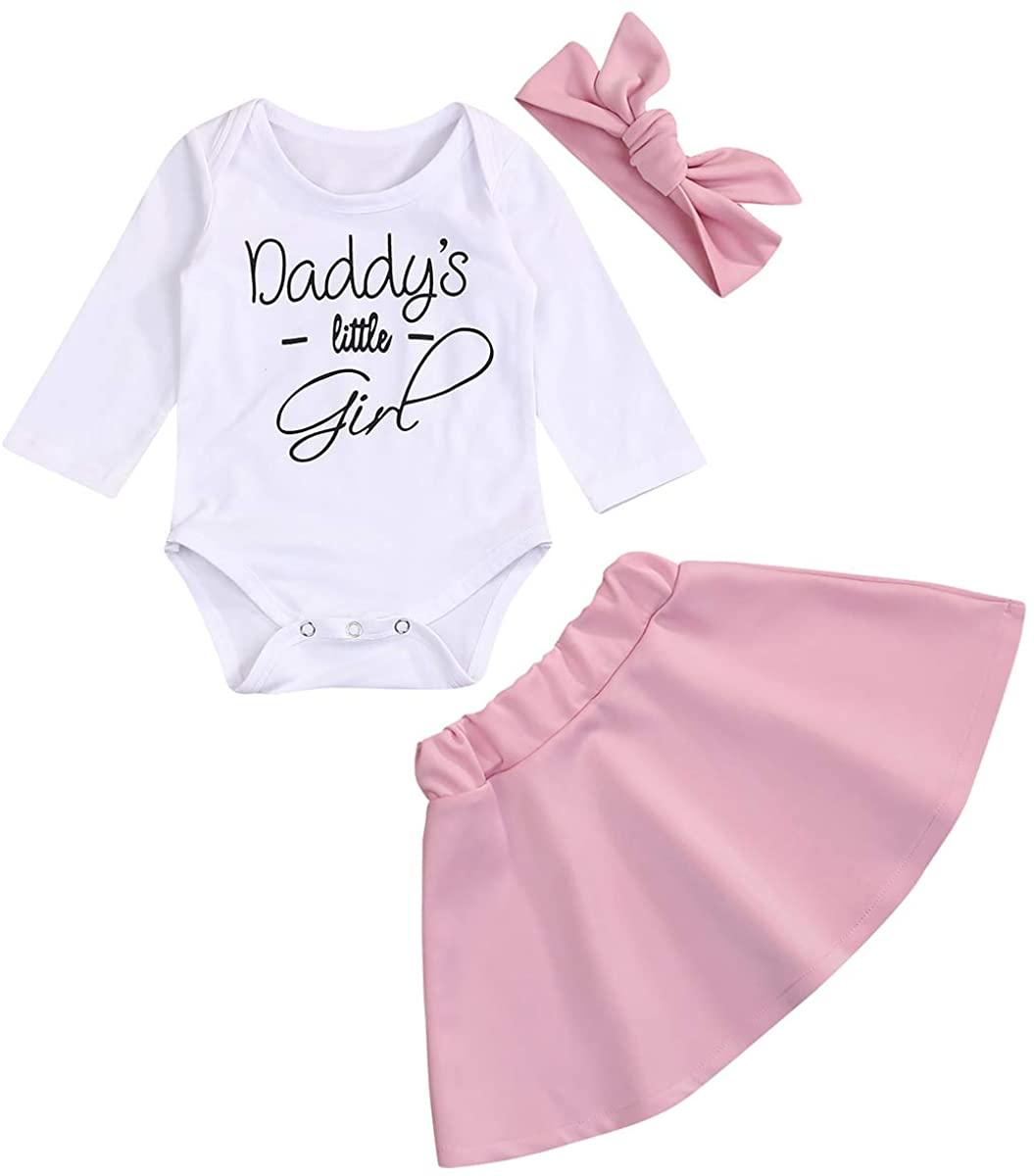 Newborn Baby Girls Skirt Set Daddy's Little Girl Print Top Pink Tutu Dress Headband Fall Winter 3 Pcs Outfit Set