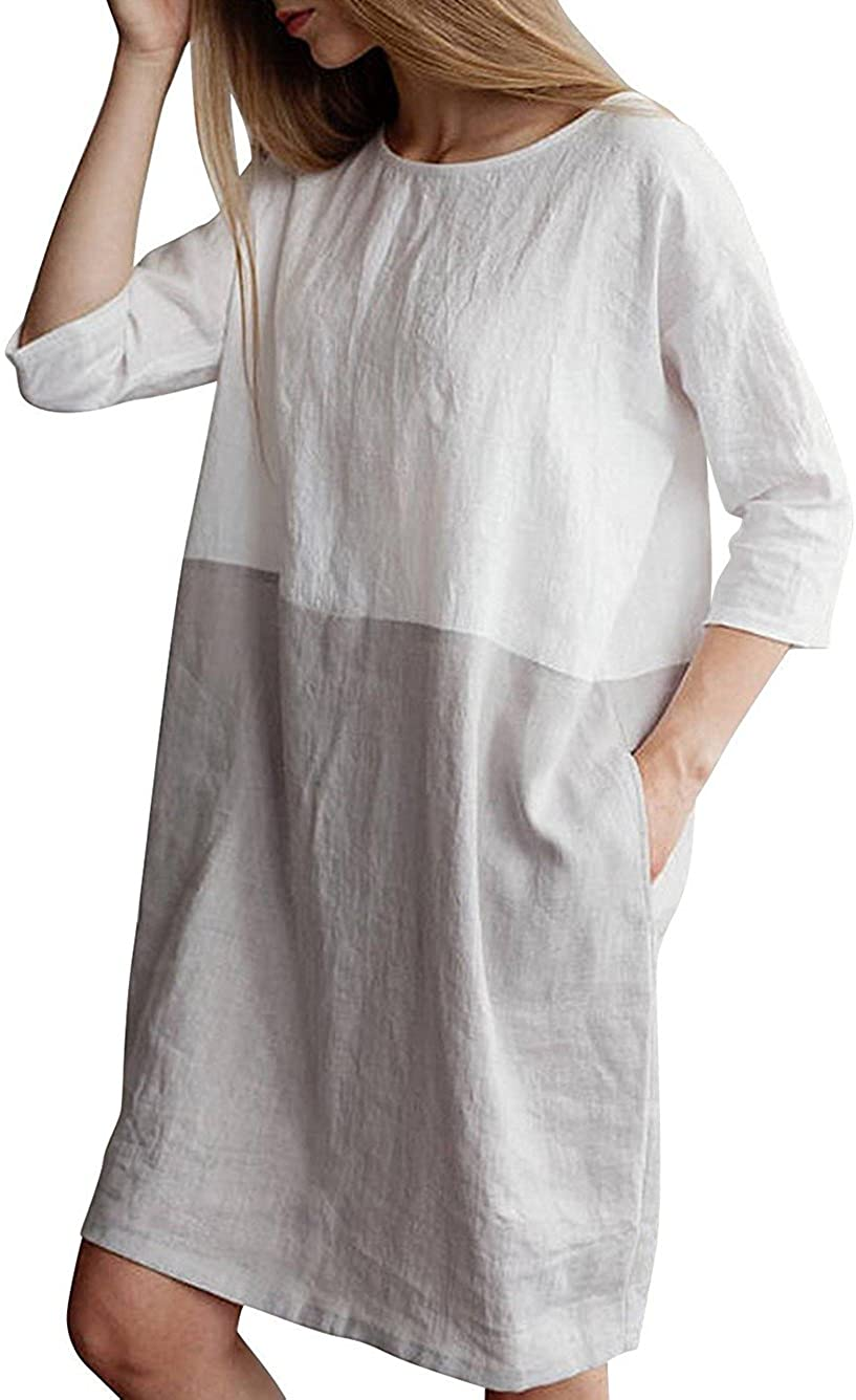 Famulily Women's Oversized 3 4 Sleeve Two Tone Colors Loose T Shirt Dress with Pockets