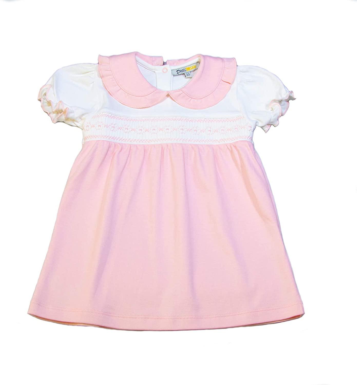 Dakomoda Baby Girls' 100% Organic Pima Cotton Dress - Pink Smocked Easter Dress Diaper Cover
