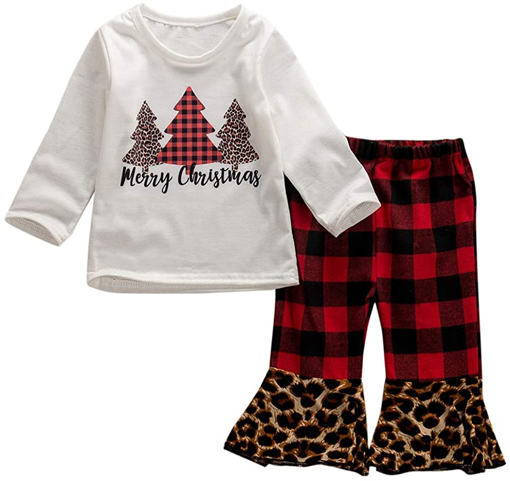 Toddler Baby Girl Christmas Outfit Merry Xmas Tree Shirt Tops+ Red Plaid Leopard Flare Pants Winter Clothing Set