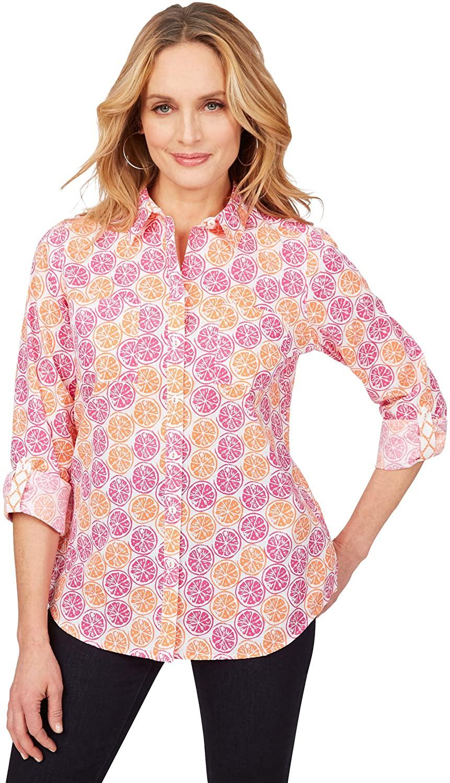 Foxcroft Womens Zoey Wrinkle-Free Citrus Shirt