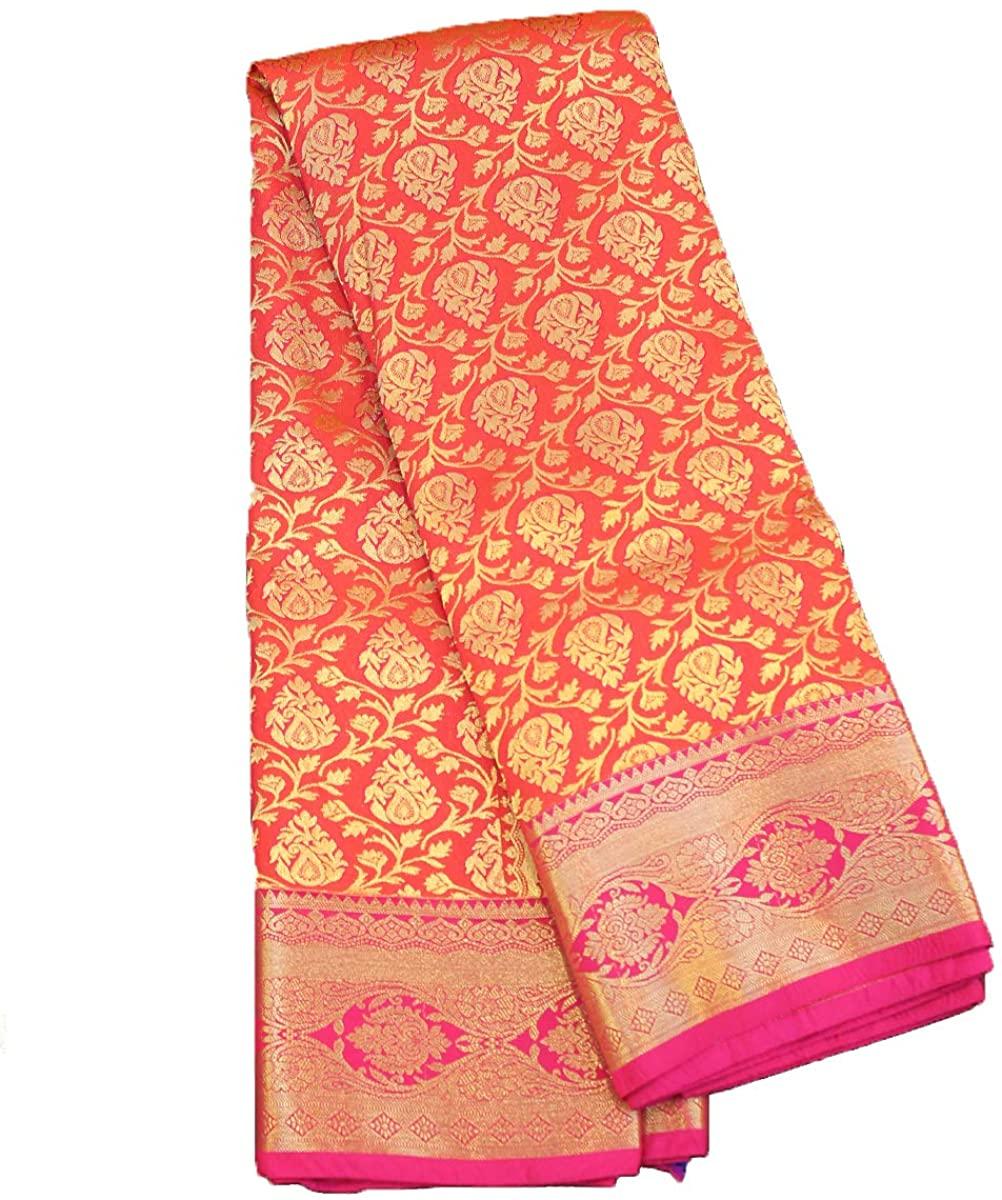 Pure Silk Saree for Women Kanchipuram Kanjivaram Pattu Sari Handloom Banarasi Silk Tussar Silk Mysore Silk Orange