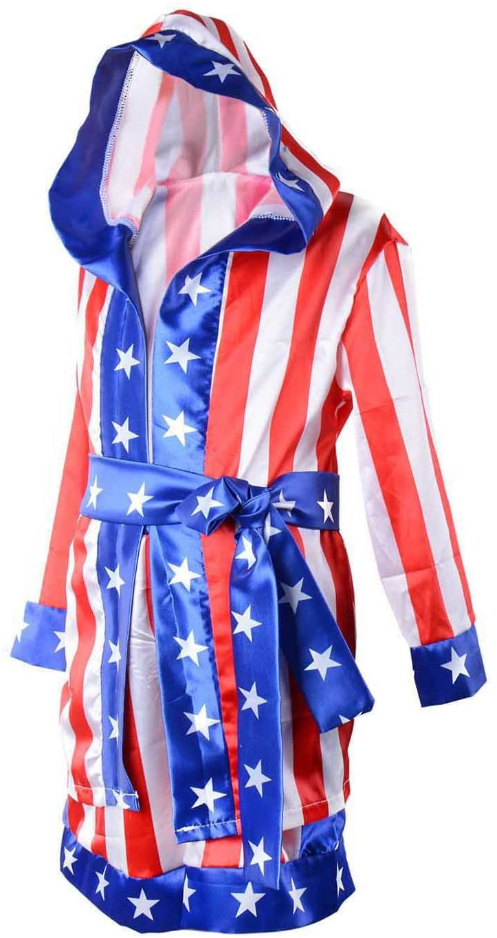 Wraith of East Kids Boxing Costume Rocky Balboa Apollo American Flag Robe Boy Cosplay Kickboxing Hoodie Sport Top
