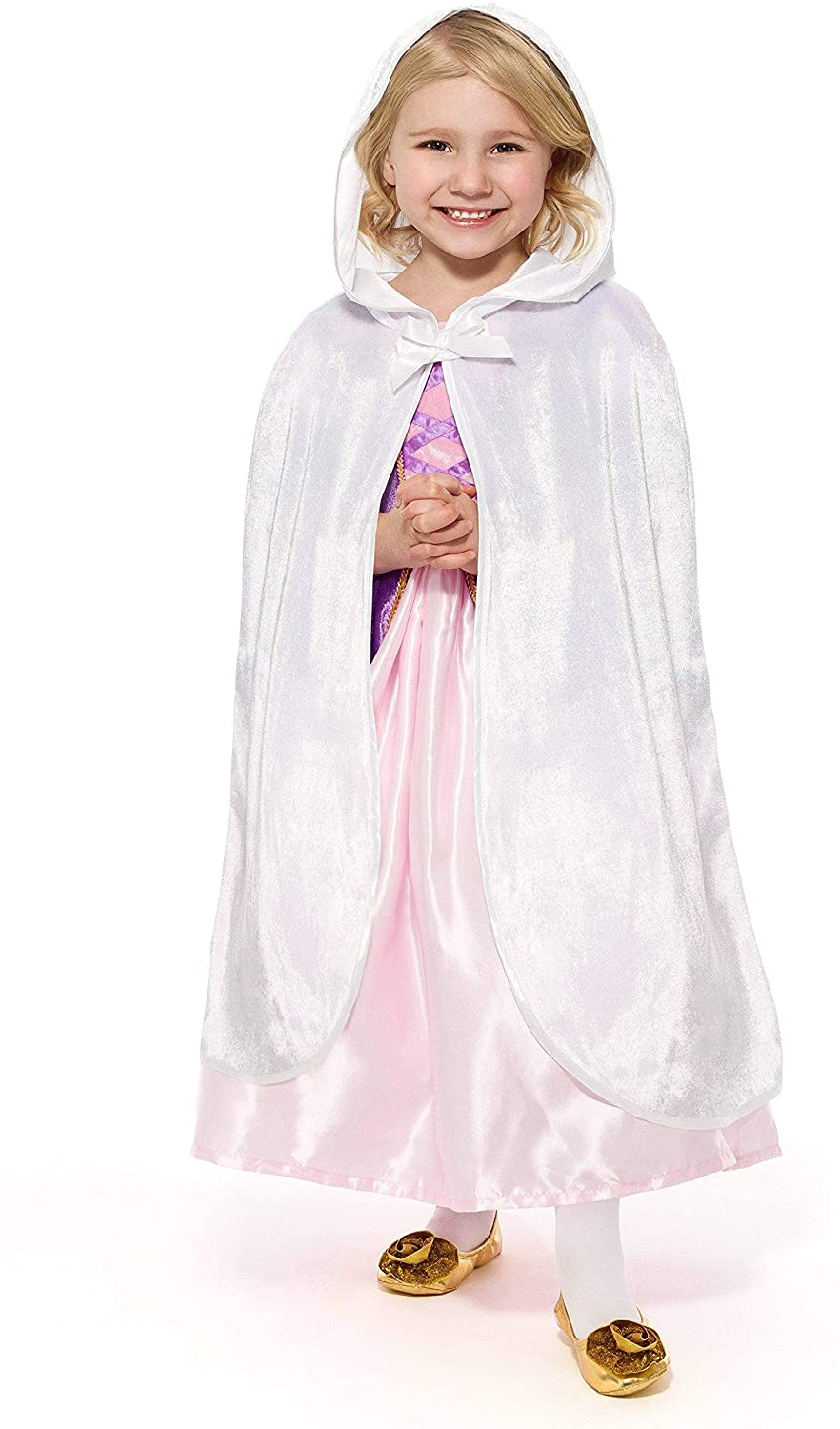 Little Adventures Traditional Hooded Princess Cloaks (White, L/XL Age 5-9)