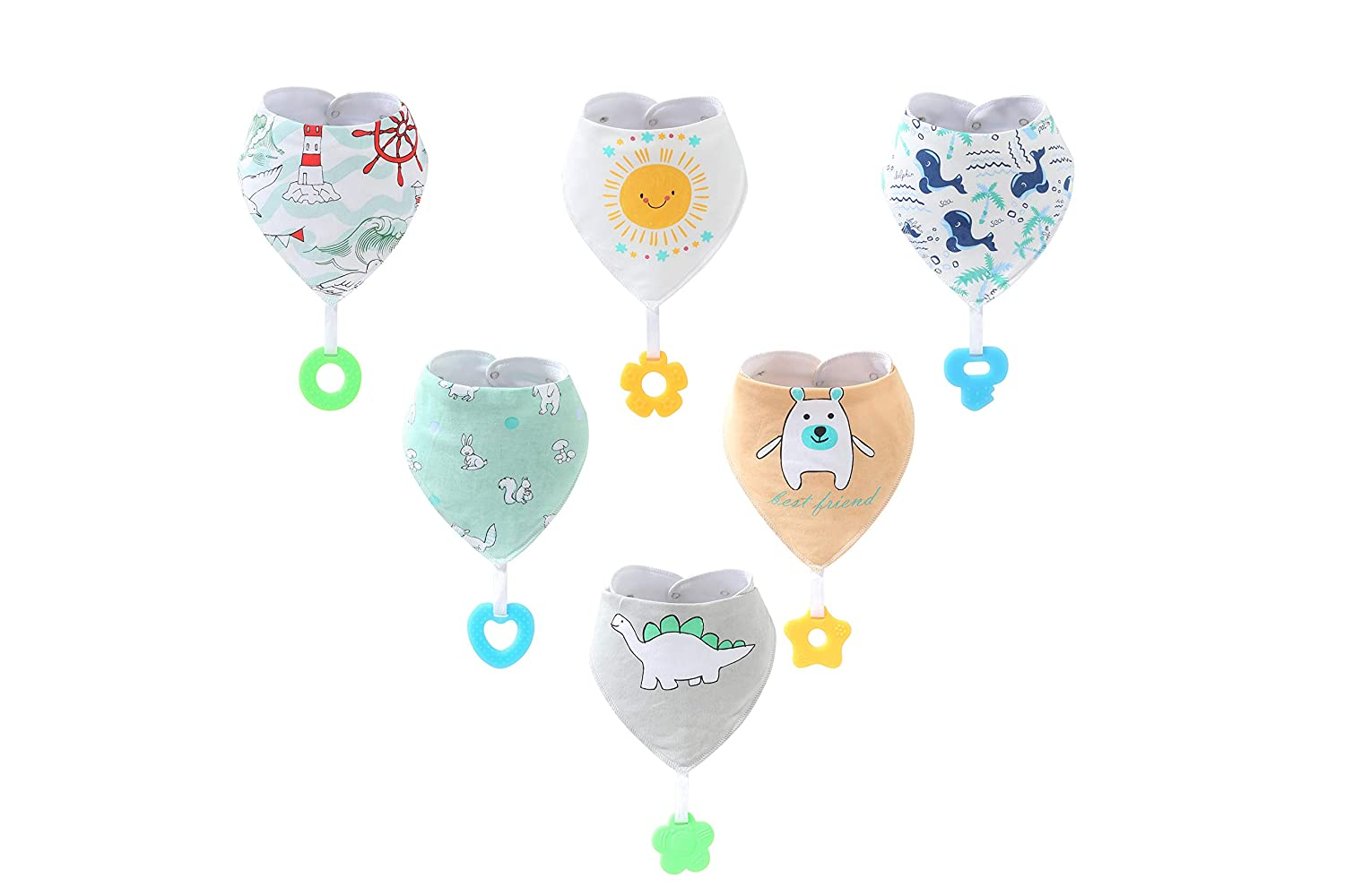 Baby Bandana Drool Bibs Teething Toys Made with 100% Organic Cotton, Super Absorbent and Soft Unisex (Vuminbox) (6 Pack)