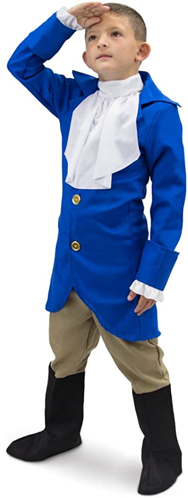 George Washington Children's Boy Halloween Dress Up Theme Party Roleplay & Cosplay Costume (Youth Medium (5-6)) Blue