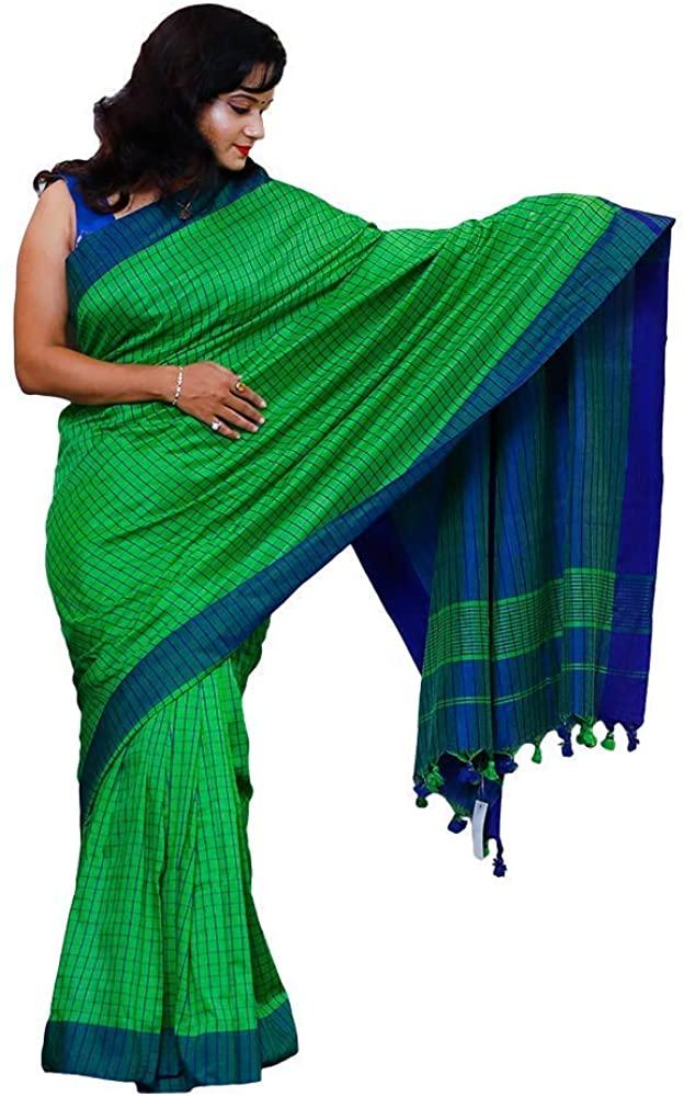 Women's Indian Handloom Cotton Check Handloom Saree (Green)