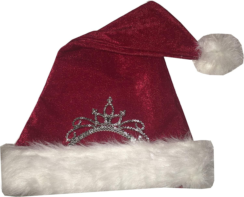 Novelty Holiday Christmas Santa Hats with Princess Tiara Variations for Adults and Children
