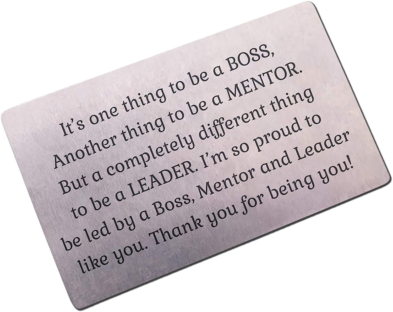 Boss Appreciation Gift Mentor Thank You Gifts For Guidance   Inspiration Coworker Leaving Gifts For Him   Engraved Metal Wallet Card for Supervisor  Thank you Note Going Away Gifts Retirement gift