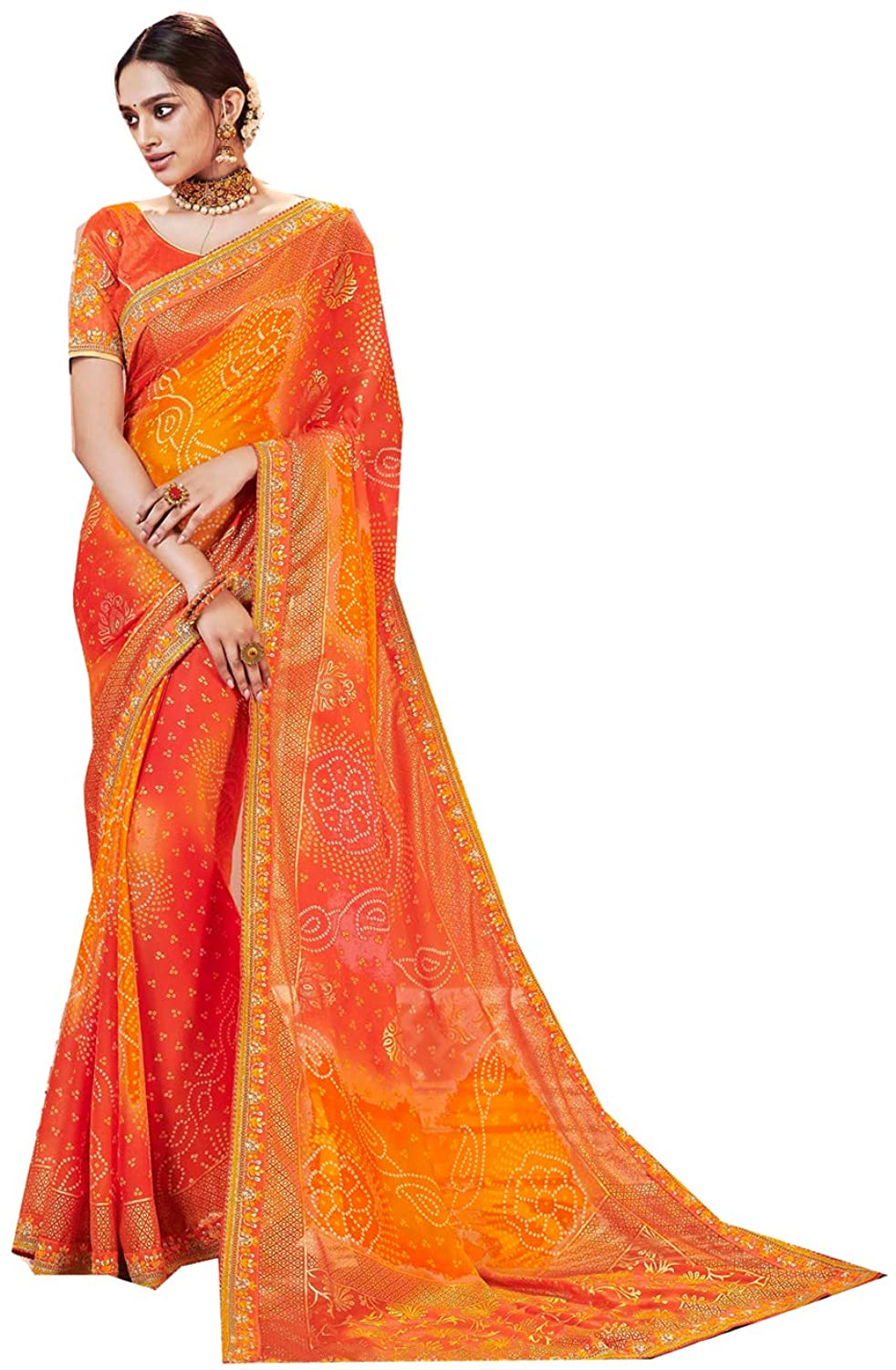 Saree for Women Bollywood Wedding Designer Georgette Sari with Unstitched Blouse.