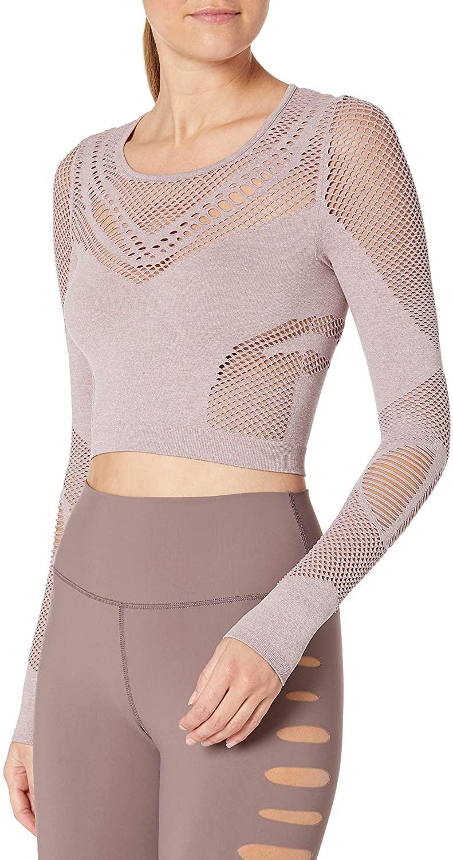 Alo Yoga Women's Siren Long Sleeve, Smokey Quartz, Large