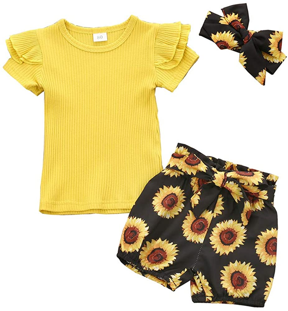 Toddler Baby Girls Outfits Set Summer Sunflower Short Sleeve Ruffle Tops Floral Pants Sets