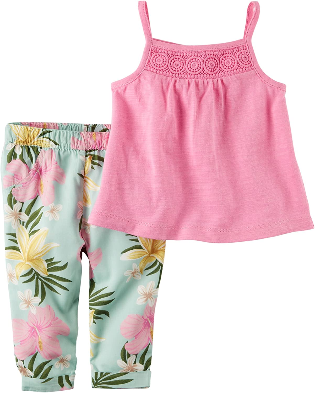 Carters Baby Girls 2 Piece Tank and Print Pants 9 Months