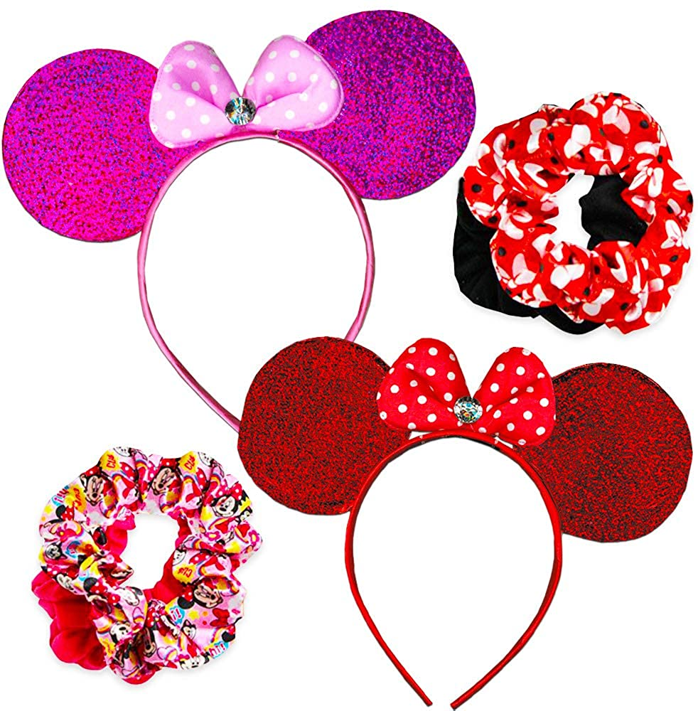 Disney Minnie Mouse Ears and Hair Accessories ~ Set of 2 Sparkling Minnie Ears with Set of 4 Minnie Mouse Scrunchies and Bonus Stickers (Minnie Mouse Dress Up Costume Accessories Bundle)