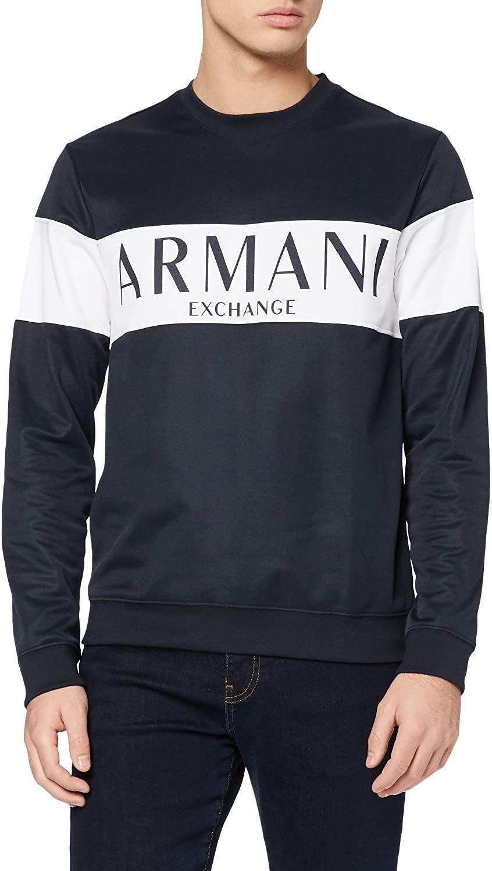 AX Armani Exchange Men's Bold Logo Stripe Crewneck Pullover Sweatshirt