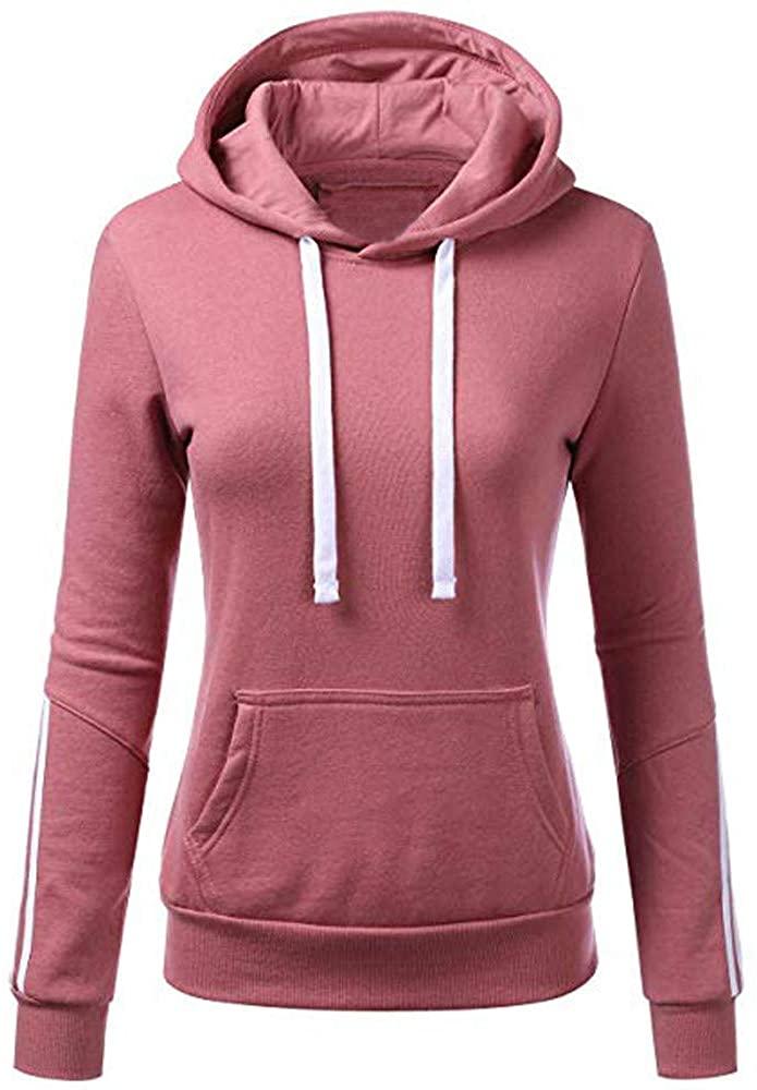 ZEFOTIM Women Hoodies, Women Stripe Sweatshirt Long Sleeve Blouse Hooded Pocket Pullover Tops Shirt