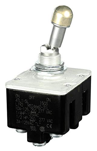 4TL1-5L, Micro Switch Toggle Switches: TL Series, 4 Pole Double Throw (4PDT) 3 Position (Mom. On - Off - On), Screw