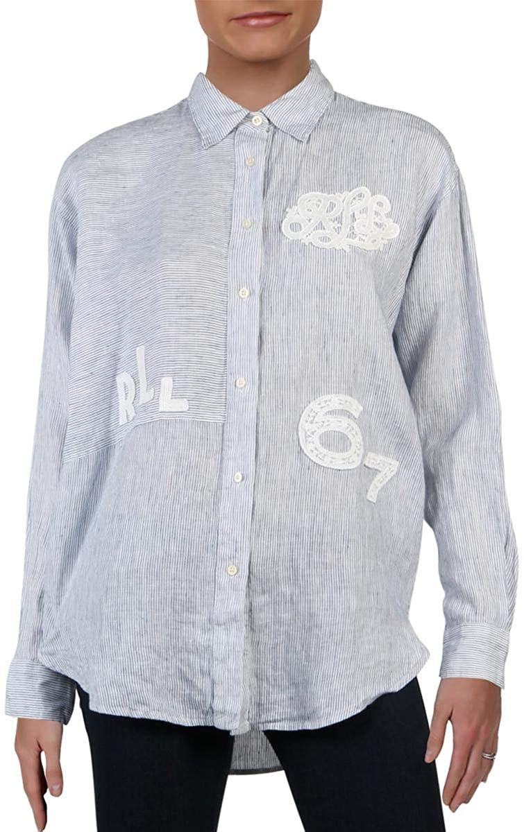 Lauren Ralph Lauren Womens Linen Blue Striped Button-Down Top S