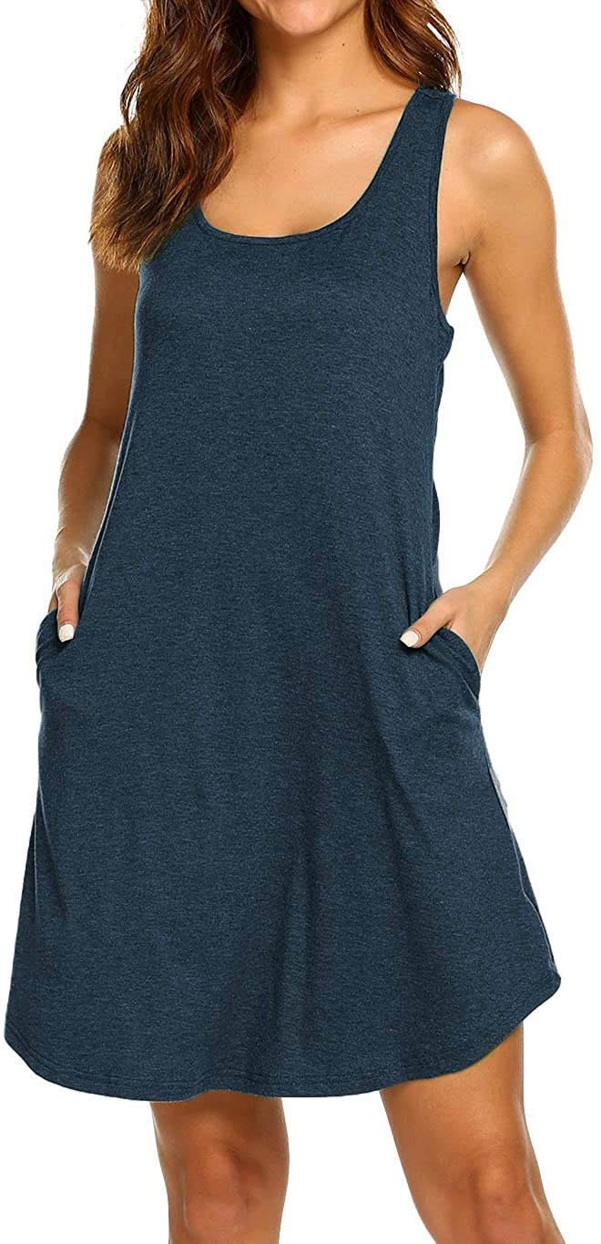 LuckyMore Womens Casual Scoop Neck Sleeveless Racerback Tunic Dress with Pockets