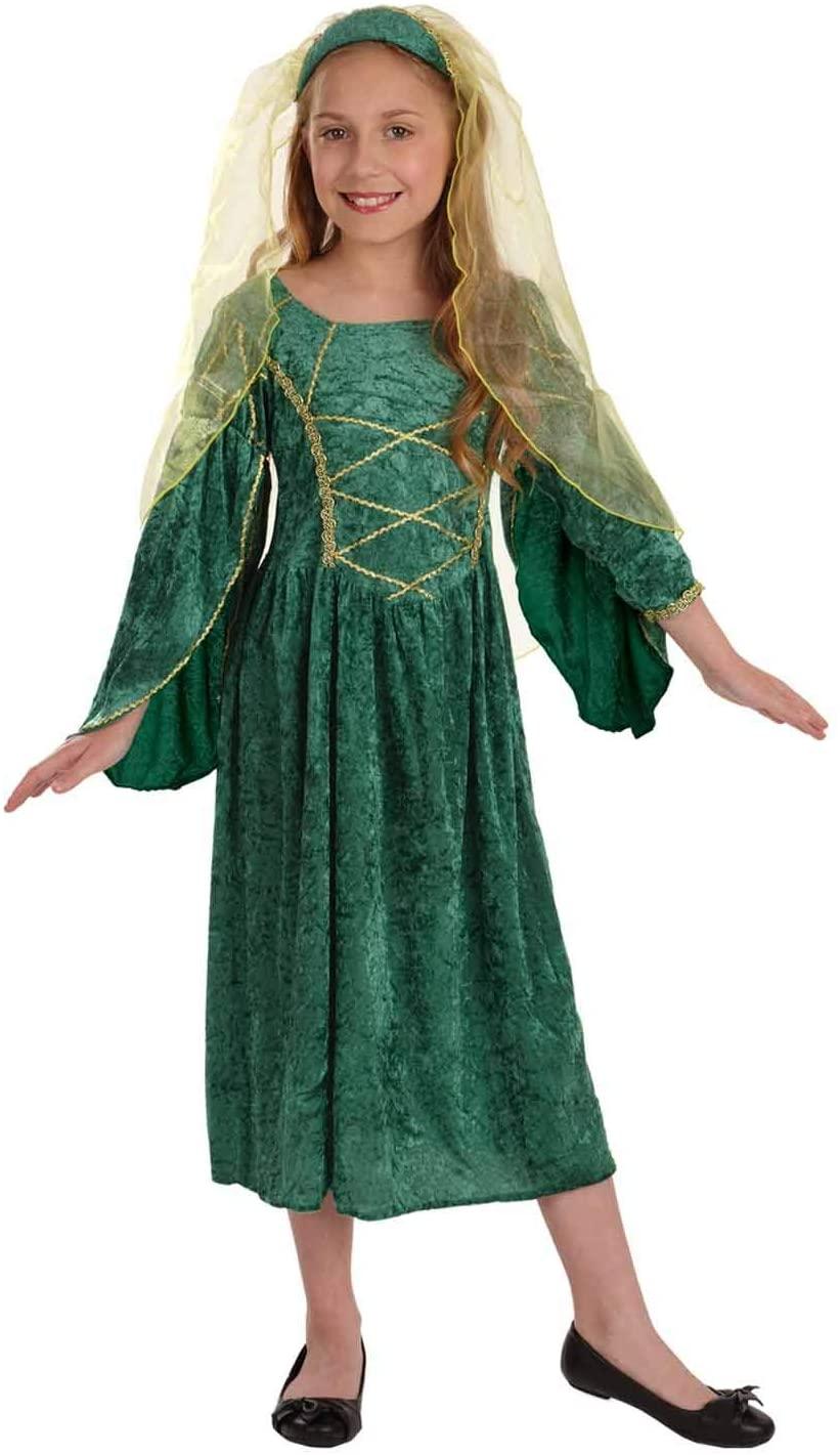fun shack Girls Tudor Princess Costume Kids Medieval Queen Historical Green Gown - Medium