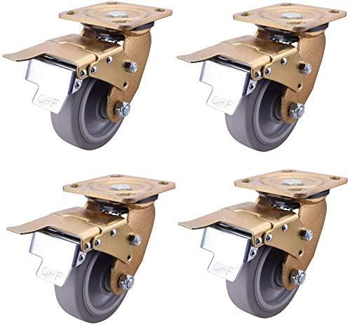 Castors Wheel brake Heavy duty side brake scaffold Double brake wheels Synthetic rubber silent trolley