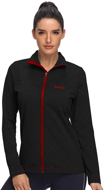 HISKYWIN Women's Lightweight Full Zip Running Shirts Long Sleeve Active Workout Track Jacket for Spring Outdoor