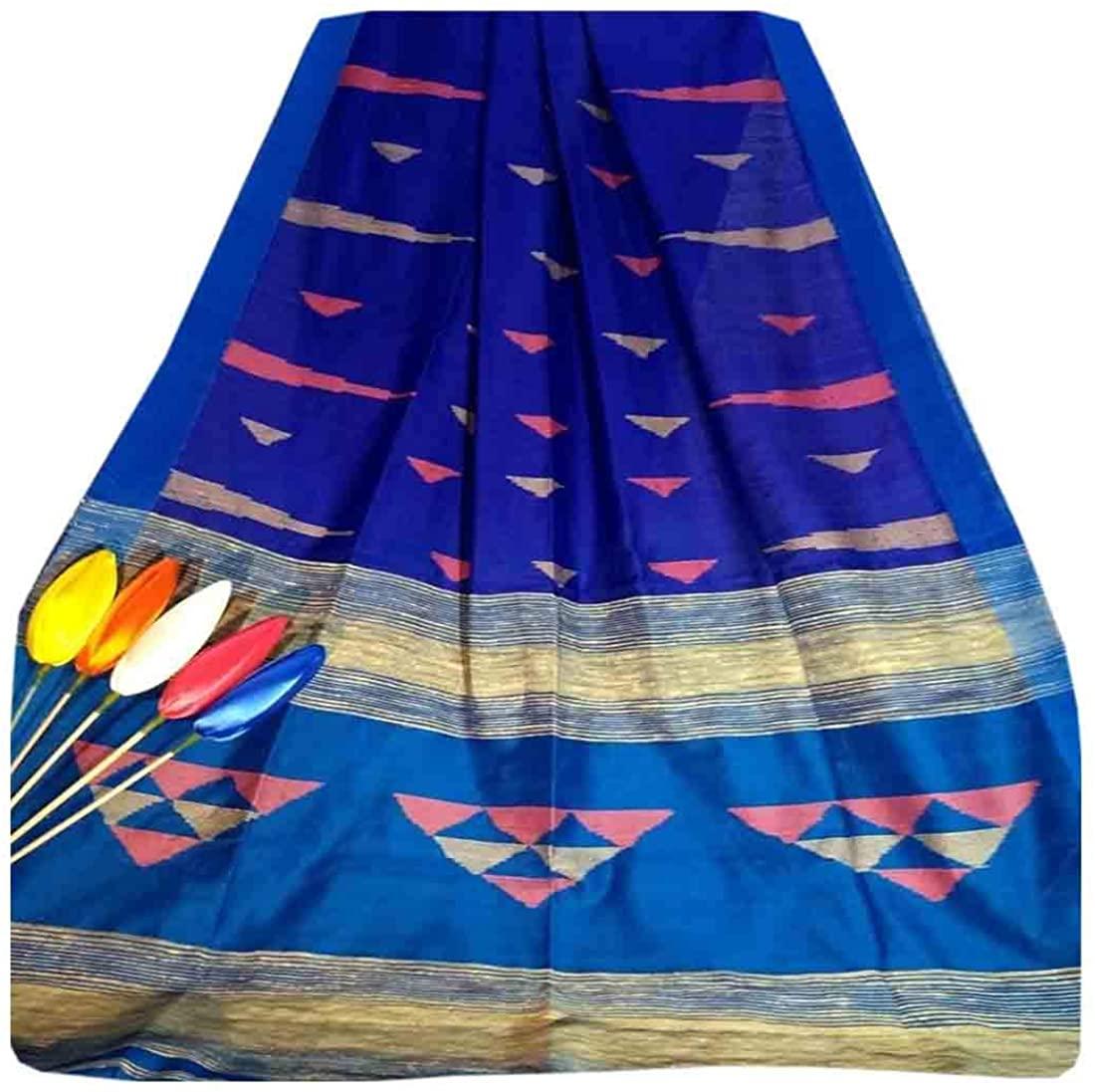 Blue Indian Traditional Cotton Silk Occasional Women Saree Contrast Pallu Handloom Weaving Sari Muslim 793