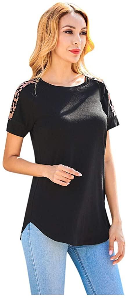 Kangma Plain Crewneck Short Sleeve Leopard Pocket Casual Tees T-Shirt Blouse Crop Tops for Women