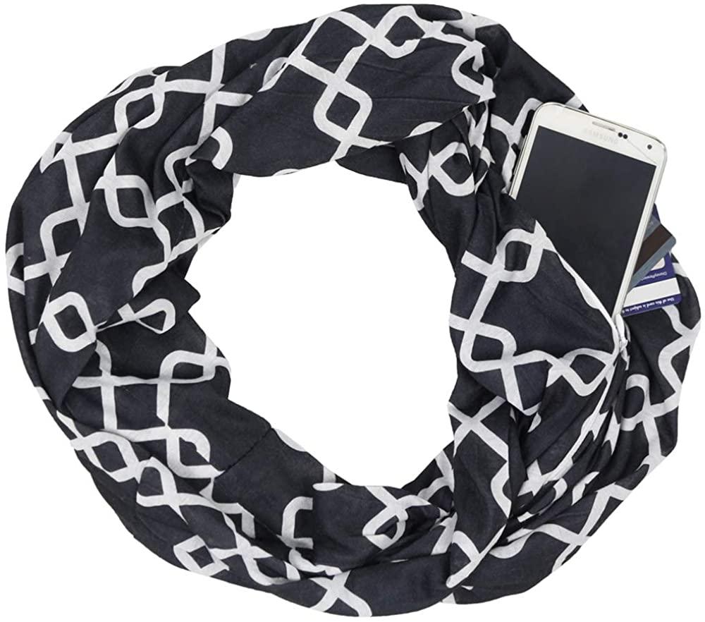 Shop Pop Fashion - Chevron Pocket Scarf for Women - Fashion Zipper Pocket Storage Scarf (Chain Link - Black)