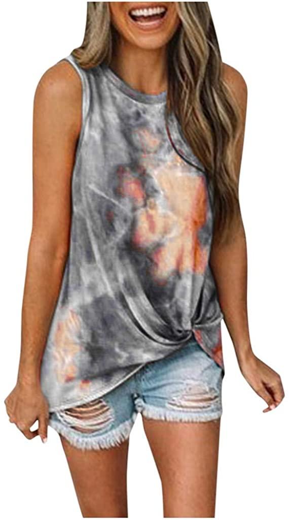 ZEFOTIM Women's Round Neck Sleeveless Tie-Dye Print Knot Front Summer Tank Top T-Shirt