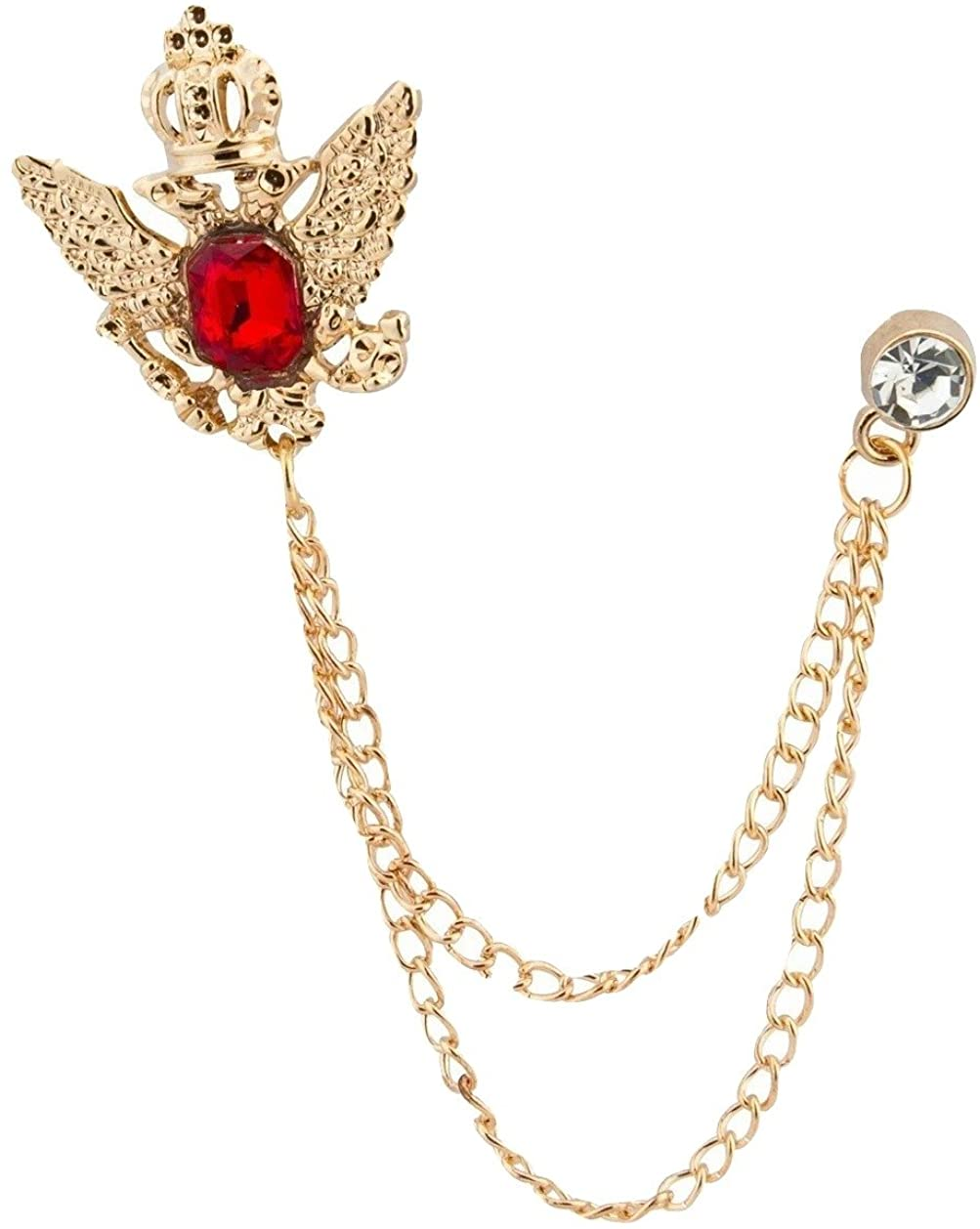 Knighthood Men's Golden Crown Stone with Hanging Chain Brooch Golden