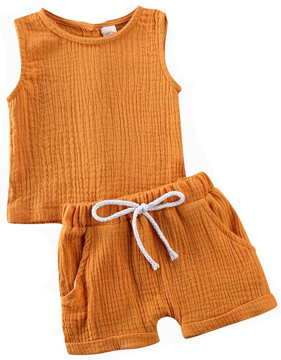Toddler Baby Girls Plain Short Sleeve Button Down Top +Cotton Linen Shorts Summer Clothes Outfits (2-3T, Yellow)