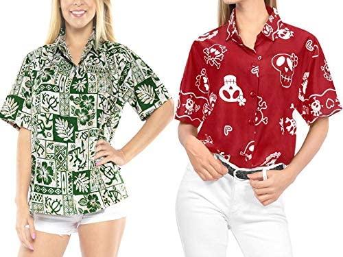 LA LEELA Women's Short Sleeve Button Down Casual Beach Hawaiian Shirt Work from Home Clothes Women Beach Shirt Blouse Shirt Combo Pack of 2 Size Small