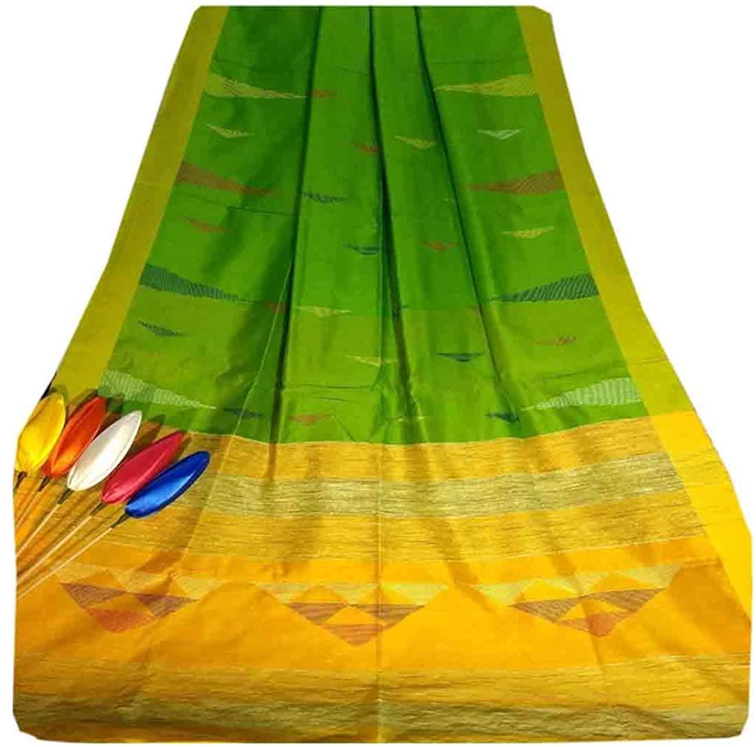 Green Indian Traditional Cotton Silk Occasional Women Saree Contrast Pallu Handloom Weaving Sari Muslim 793