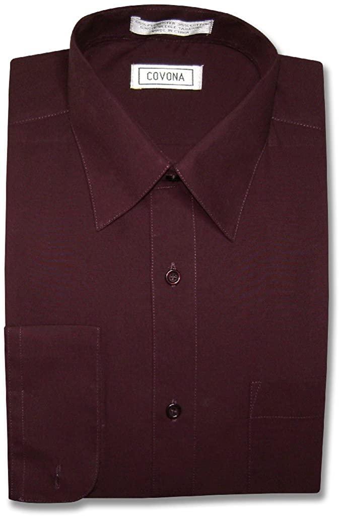 Men's Solid Burgundy Color Dress Shirt w/Convertible Cuffs
