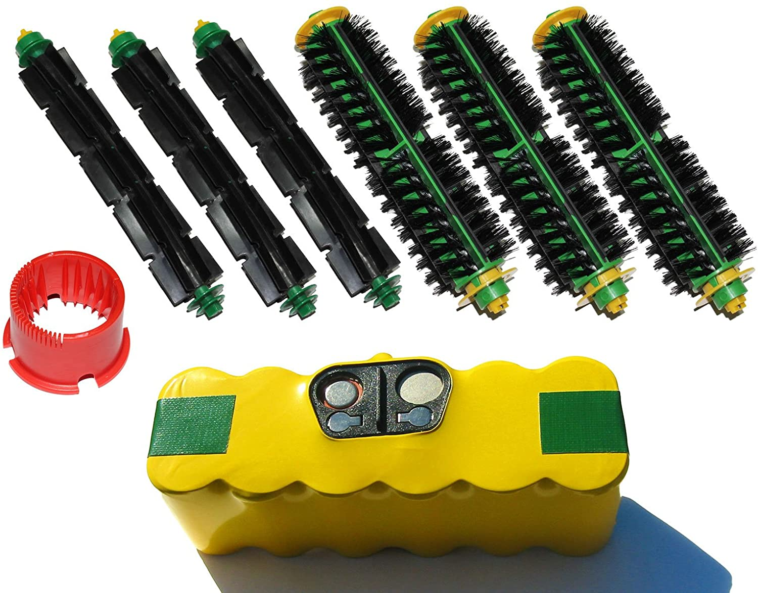 Replacement for iRobot Roomba 551 - Kit Includes 1 High Capacity Battery, 3 Bristle Brushes and 3 Flexible Beater Brushes, 1 Brush Cleaning Tool