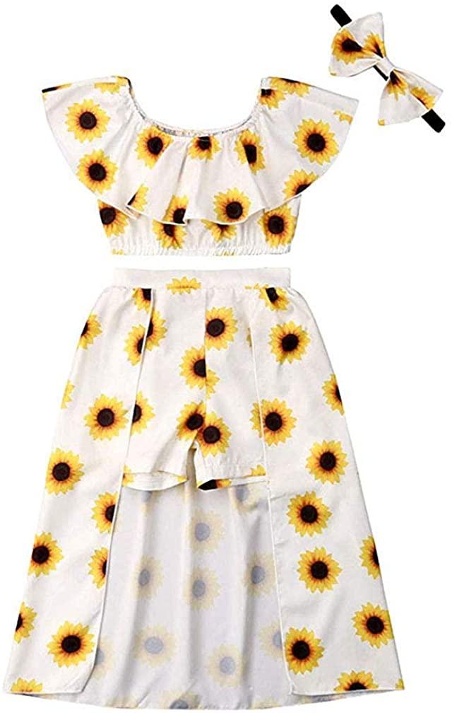 Baby Girls Sunflower Print Ruffles Off-Shoulder Crop Top Pantskirt Skirts Headband Outfits Set