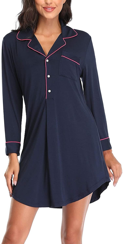 COLORFULLEAF Women Long Sleeve Nightgown V-Neck Button Down Nightdress Maternity Sleepwear