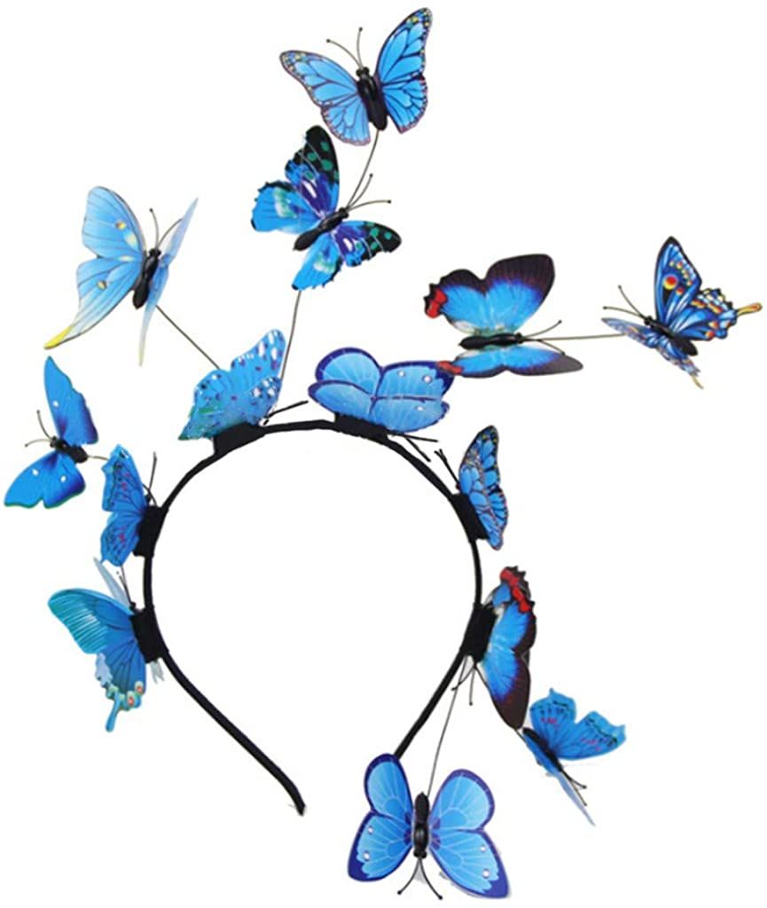 Rhfemd Ladies Girls Fairy Fascinator Colorful Butterflies Headband Photo Party Hair Hoop Headpiece