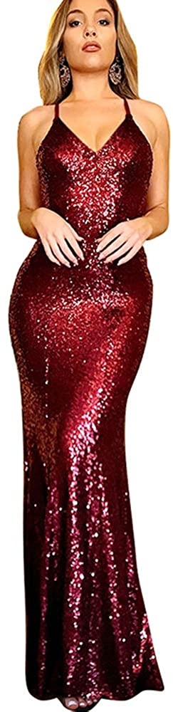BOMBAX Womens Sequin Long Party Dress Sparkly V-Neck Cocktail Formal Nightgowns