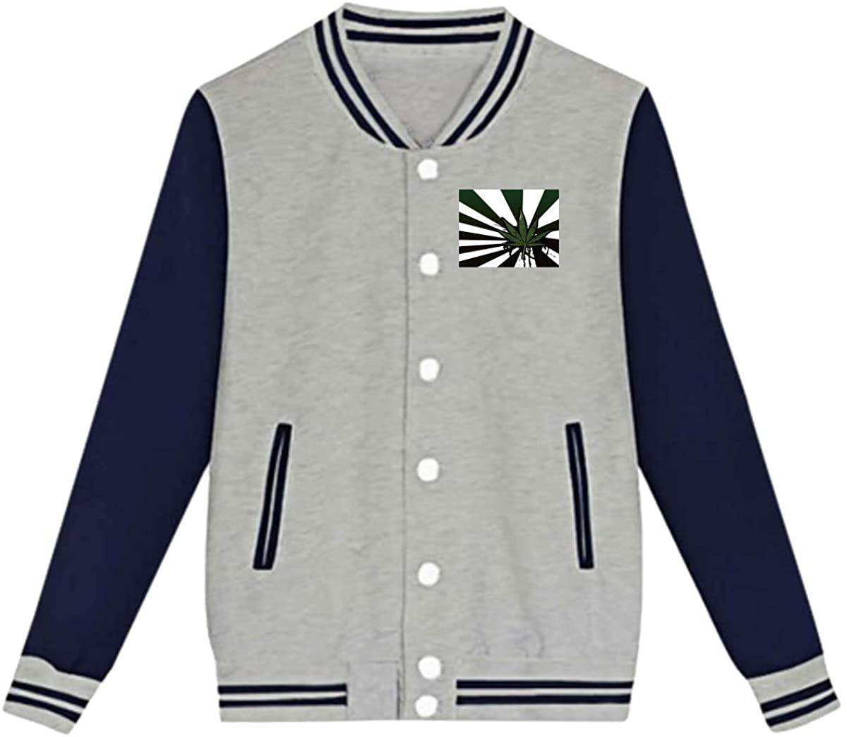 Marijuana Pattern Baseball Jacket Custom Fleece Varsity Uniform Sport Coat for Youth