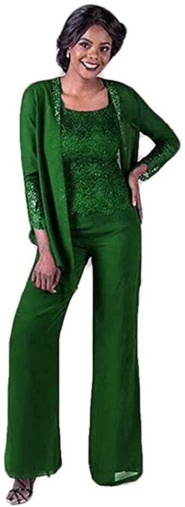 Women's Green 3 Pieces Elegant Lace Mother of The Bride Pant Suits Wedding Plus Size Suit US16W