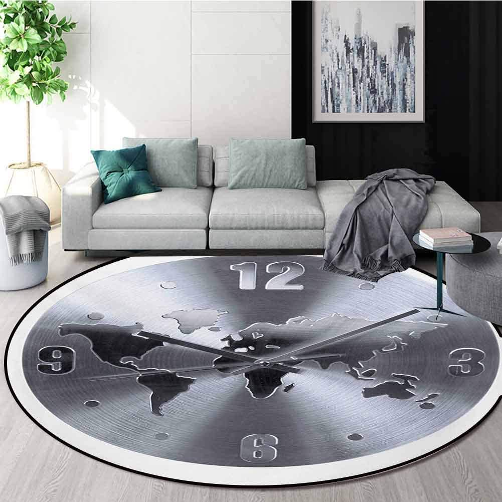 RUGSMAT Clock Machine Washable Round Bath Mat,A Silver Clock Pattern with A World Map Checking The Time Hour and Minute Hand Print Non-Slip No-Shedding Bedroom Soft Floor Mat,Round-71 Inch