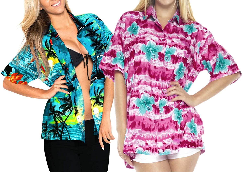 LA LEELA Women's Beach Hawaiian Shirt for Girls Button Down Up Shirt Work from Home Clothes Women Beach Shirt Blouse Shirt Combo Pack of 2 Size XL