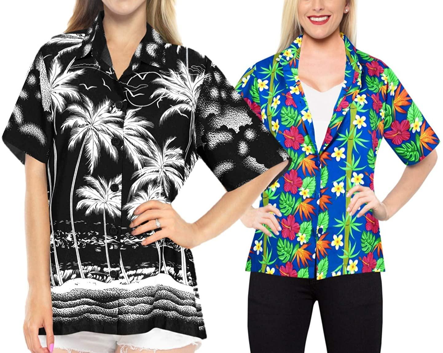 LA LEELA Women's Hawaiian Shirt Beach Aloha Party Casual Holiday Work from Home Clothes Women Beach Shirt Blouse Shirt Combo Pack of 2 Size L